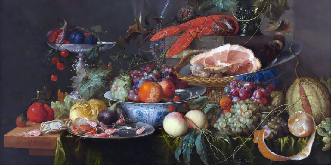 Jan Davidsz De Heem – Still Life With Ham, Lobster And Fruit – 1653