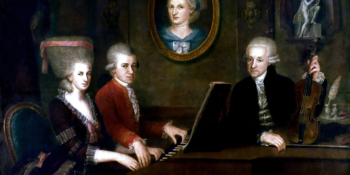 A family portrait of the Mozarts from 1780 or 1781 by Johann Nepomuk della Croce