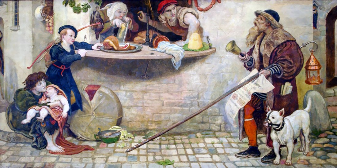 The Proclamation Regarding Weights and Measures, 1556, illustration from Hutchinson's Story of the British Nation. Ford Madox Brown