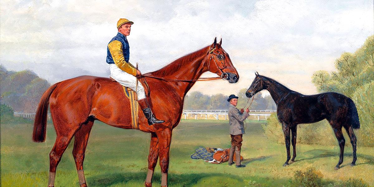 Áruló and Komámasszony, two victorious race horses from the estate of Baron Hermann von Königswarter with jockey Robert Adams