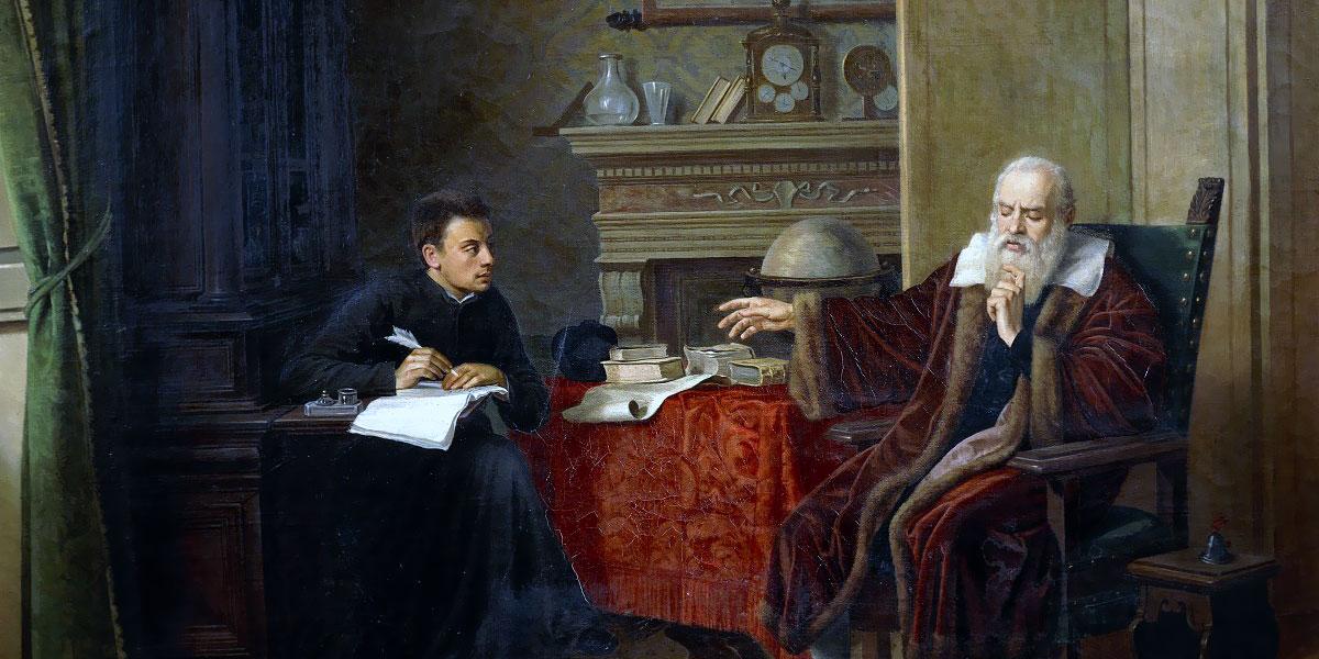 «Galileo Galilei detta le Osservazioni al segretario» (Vincenzo Cesare Cantagalli, 1870)