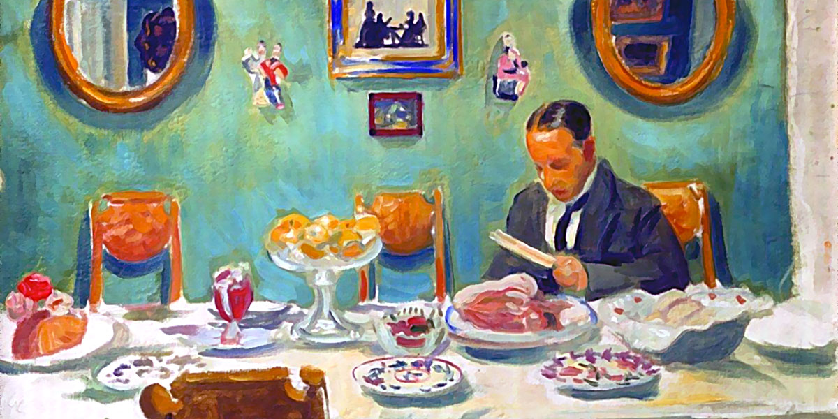 Portrait of M.V. Dobuzhinsky at the table. Boris Kustodiev