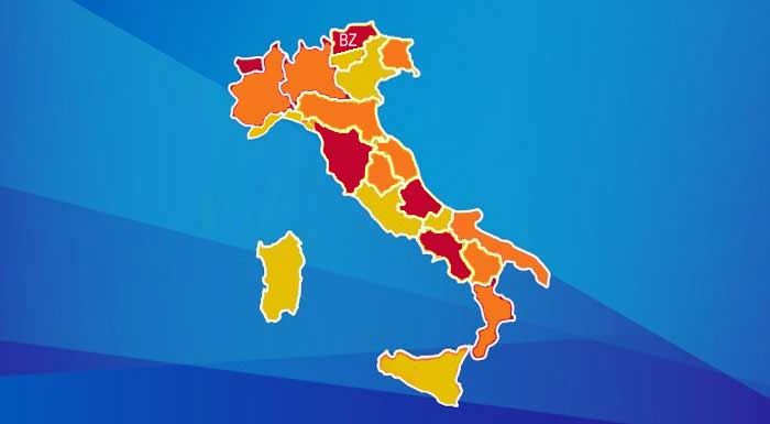 Covid: cambio colore regioni, Lombardia Piemonte e Calabria arancioni