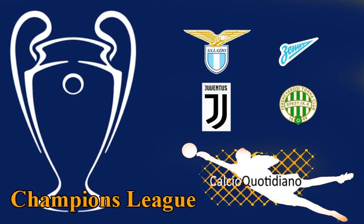 Champions: Lazio-Zenit  3-1 e Juventus-Ferencvaros 2-1