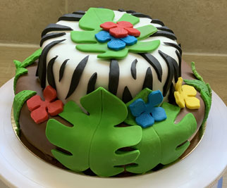 Cake design 2 niveaux thème savane