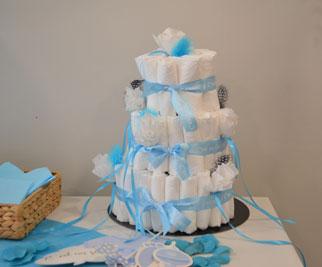 Gâteau de couches et baby shower