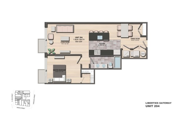 Liberties Gateway Apartment 204 Floorplan