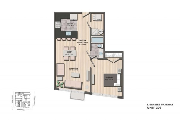 Liberties Gateway Apartment 206 Floorplan