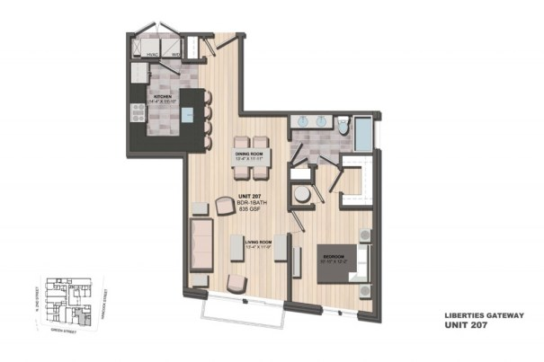 Liberties Gateway Apartment 207 Floorplan