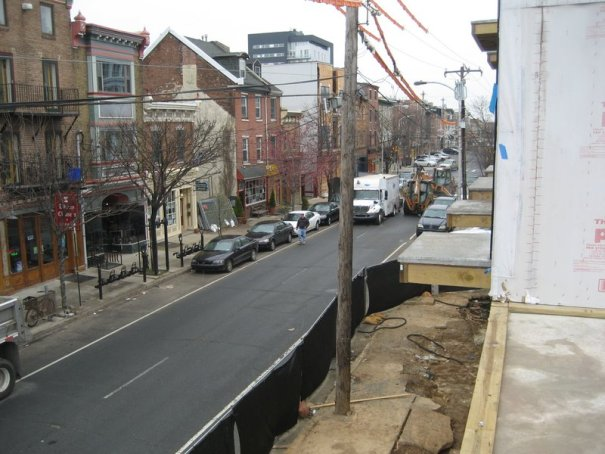 View of Second Street from Liberties Gateway Apartment Balcony