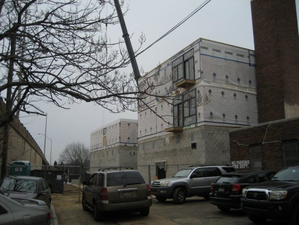View from Hancock Street of Liberties Gateway Apartments