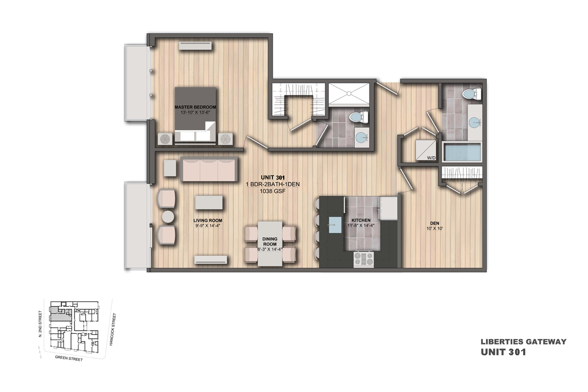 Leased apartment 301 1 bedroom 1 den 2 bathrooms for Apartment floor plans 1 bedroom with den