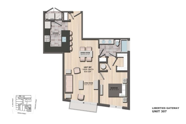 Liberties Gateway Apartment 307 Floorplan