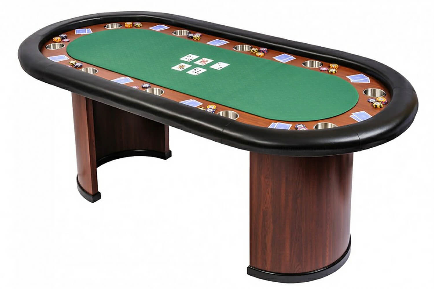 Classic 10 Person Poker Table with Arc Legs  Green SB10