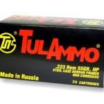 TulAmmo USA, Steel Case, .223 Rem, 55 Grain, Hollow Point, 20 Round Box: $8