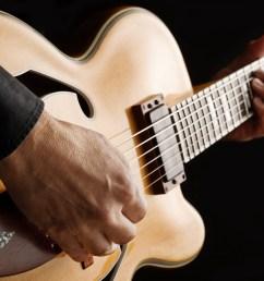 guitarist playing custom made jazz guitar [ 2000 x 1443 Pixel ]