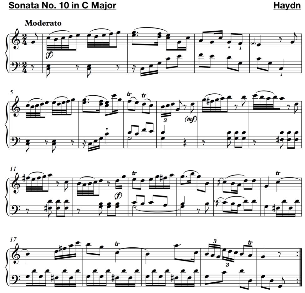 hight resolution of haydn sonata no 10 in c major
