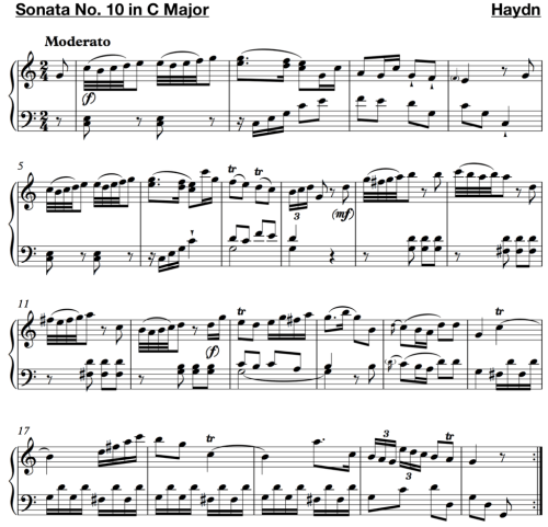 small resolution of haydn sonata no 10 in c major