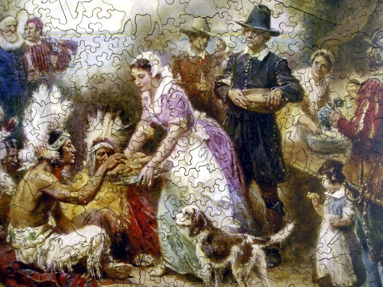 Free Fall Wallpaper And Screensavers The First Thanksgiving 1621 Wooden Jigsaw Puzzle