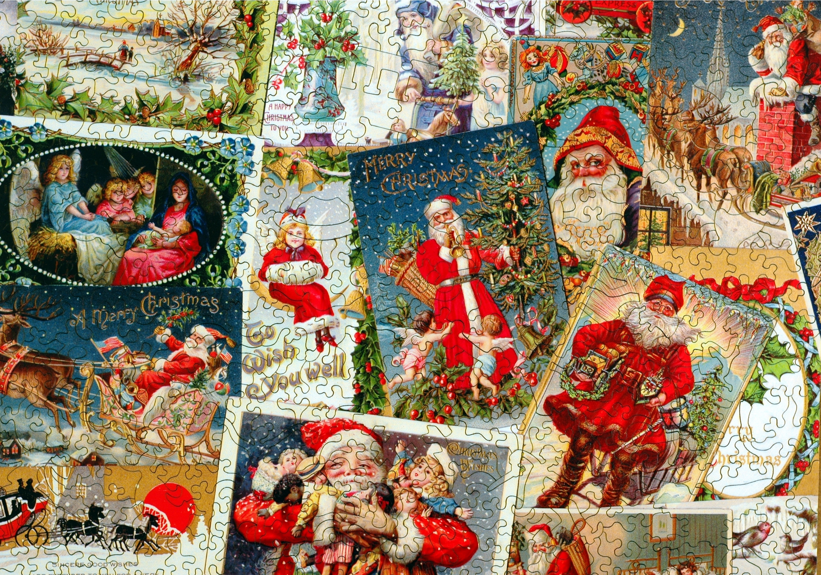 Fall Wooden Wallpaper Vintage Christmas Postcards Wooden Jigsaw Puzzle