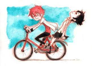 makoto sur le vélo dans la traversée du temps