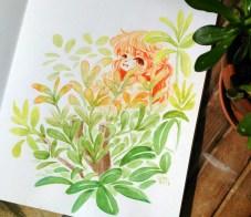 girl-hide-plant-aquarel-elfe