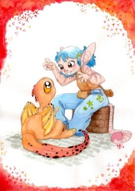 fillette et dragon
