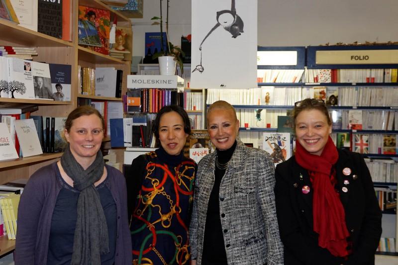 ryoko sekiguchi et l'equipe de la librairie