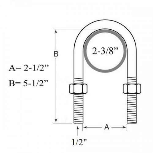 Trailer U bolt kit for 3500lbs 2-3/8