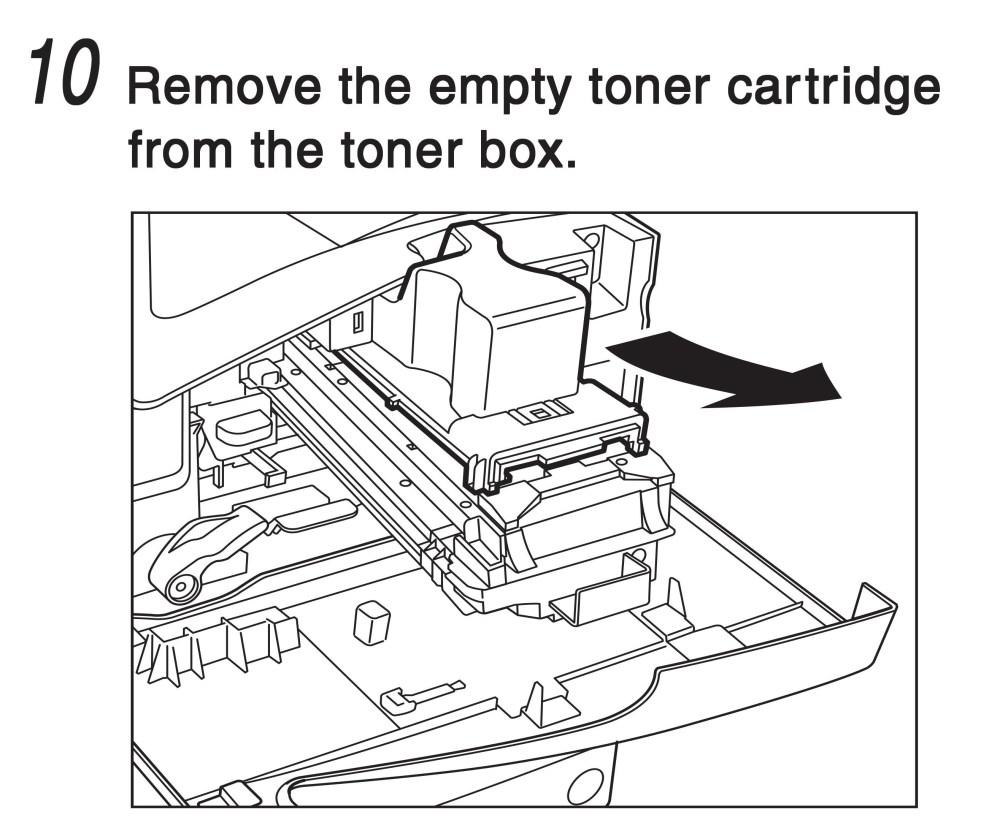 medium resolution of remove the empty toner cartridge from the toner box