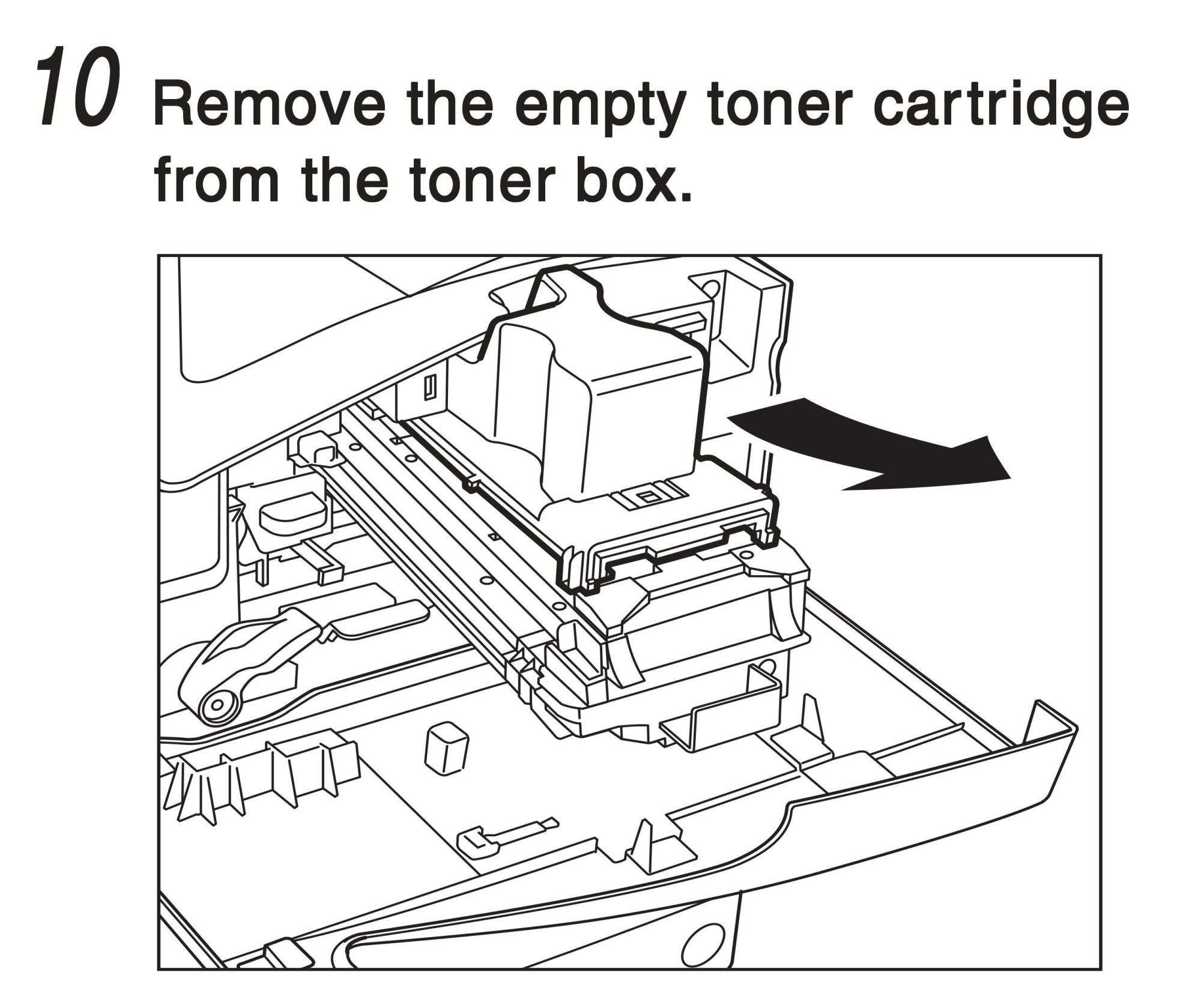 hight resolution of remove the empty toner cartridge from the toner box