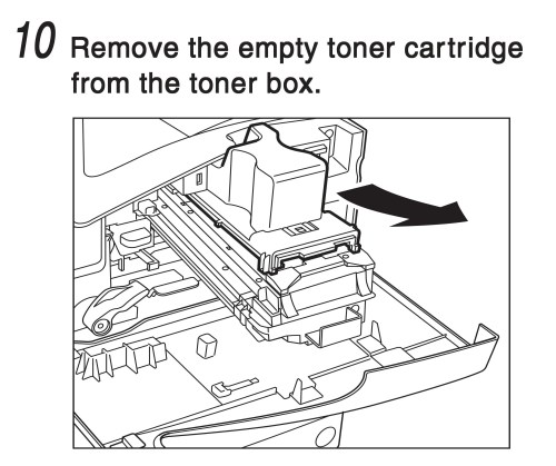 small resolution of remove the empty toner cartridge from the toner box