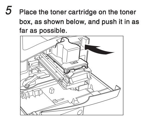 small resolution of place the toner cartridge on the toner box as shown below and