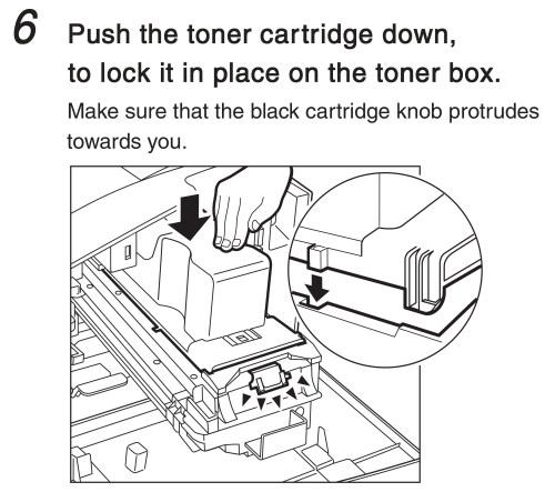 small resolution of push the toner cartridge down to lock it in place on the toner