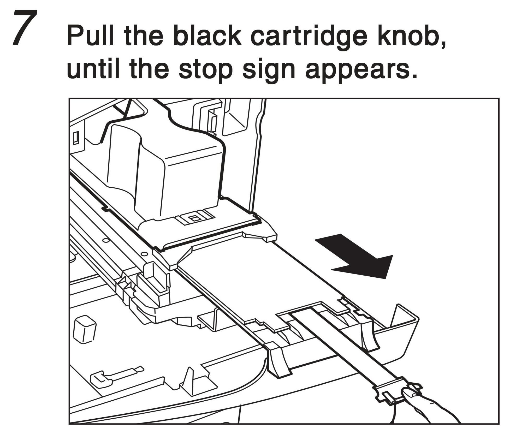 hight resolution of pull the black cartridge know until the stop sign appears