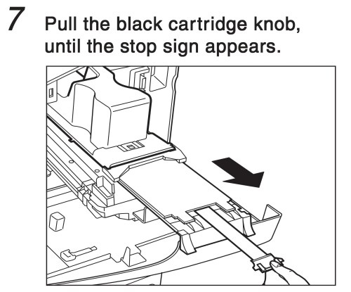 small resolution of pull the black cartridge know until the stop sign appears