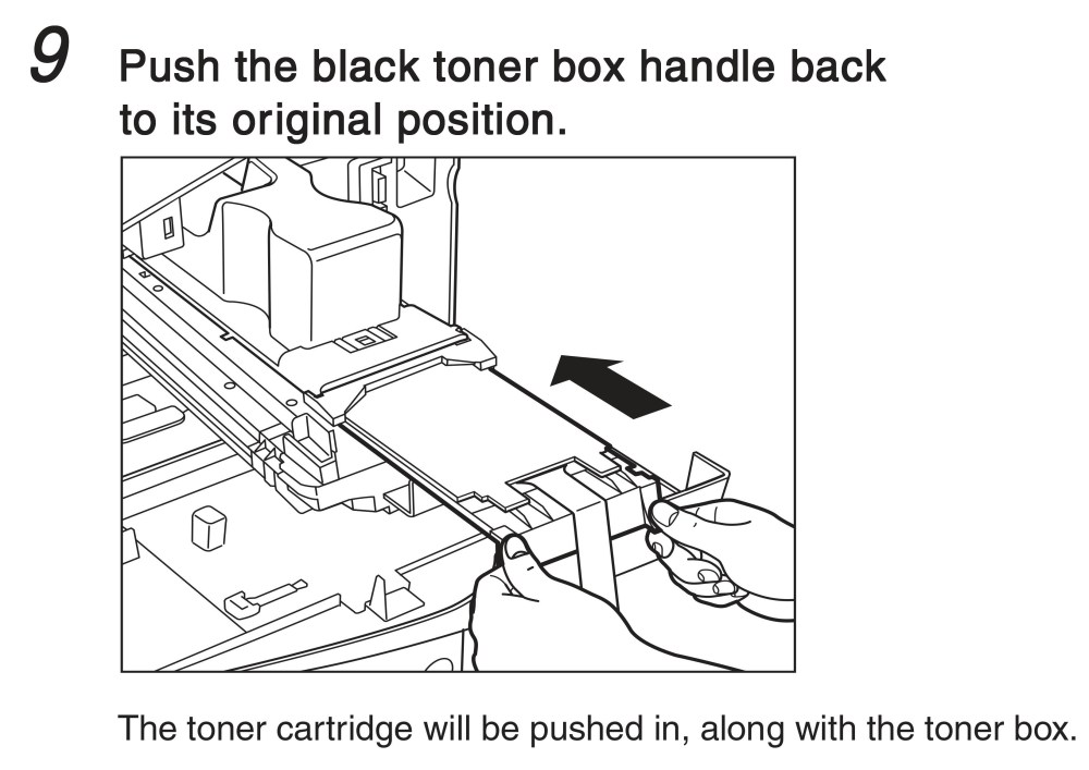 medium resolution of push the black toner box handle back to its original position the tonar