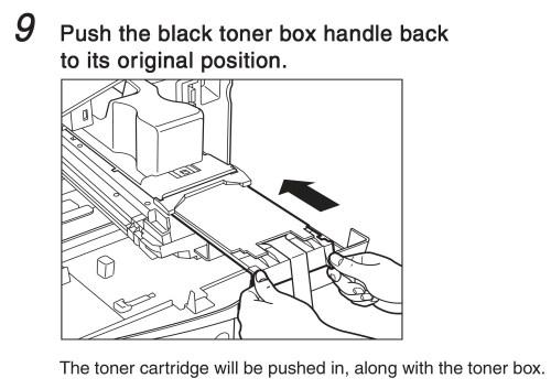 small resolution of push the black toner box handle back to its original position the tonar