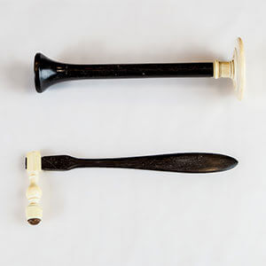 Stethoscope and reflex hammer