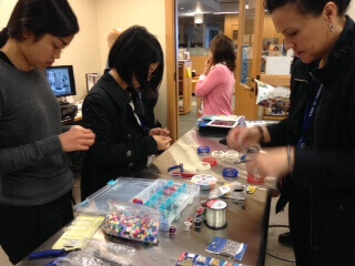 People making jewelry in Makers Lab