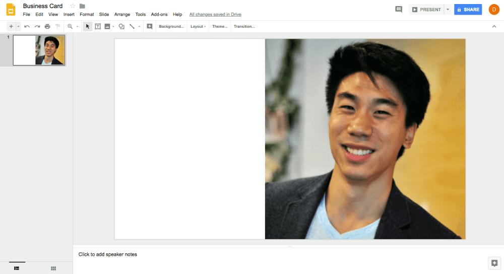Google slide layout for 3D printed business card