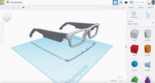 eye glass model in Tinkercad