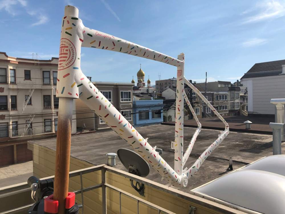 Image of bicycle frame drying outside