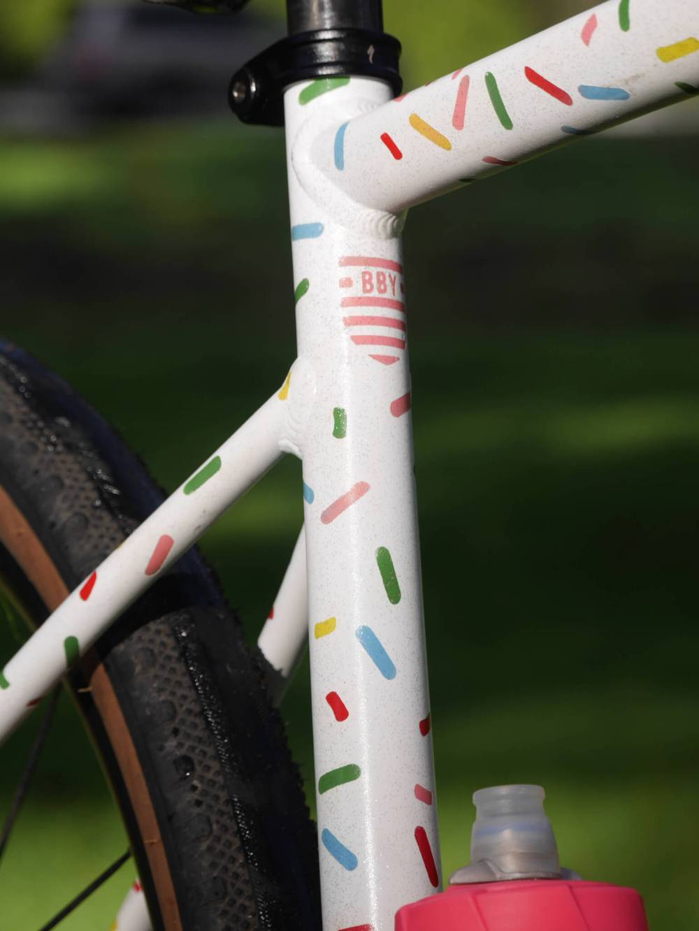 Close-up of logo on painted bike frame
