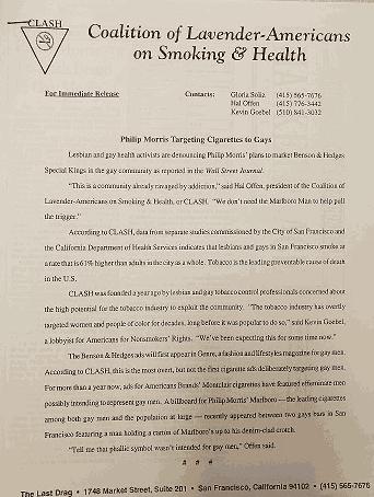 coalition of lavendar americans press release
