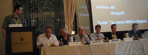 LITA Panelists (l-r), Maurice York (moderator), John Blyberg, Joan Frye Williams , Clifford Lynch, Gert van den Boogen, Eric Lease Morgan, and Roy Tennant