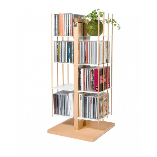 Porta CD a colonna in legno naturale o nero 100 CD Zia Carmen