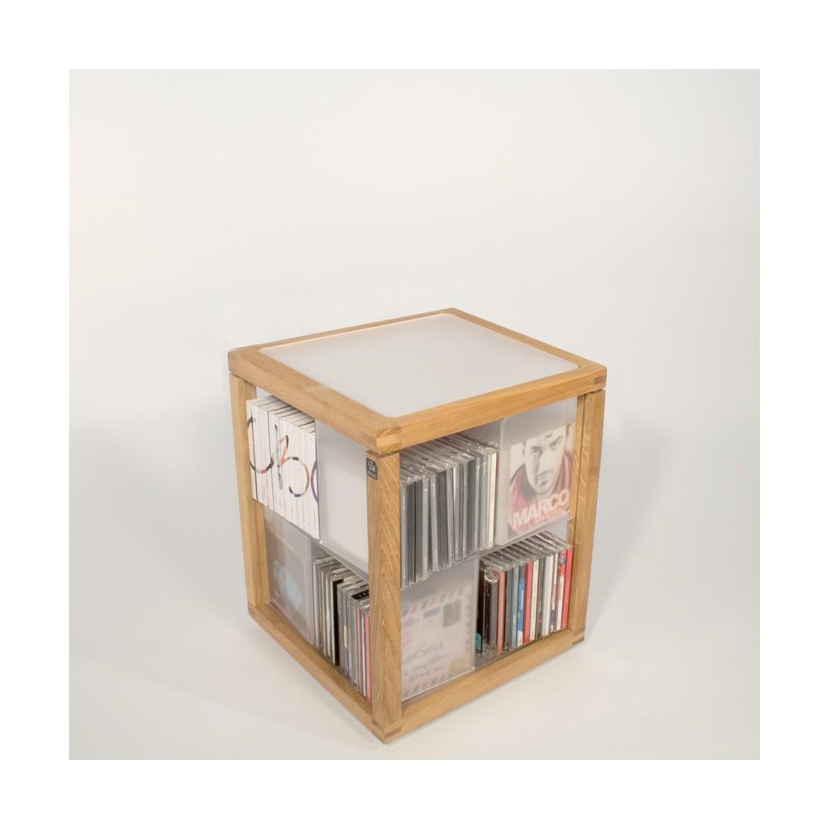Porta CD a colonna in legno e acrilico 100 CD Zia Babele