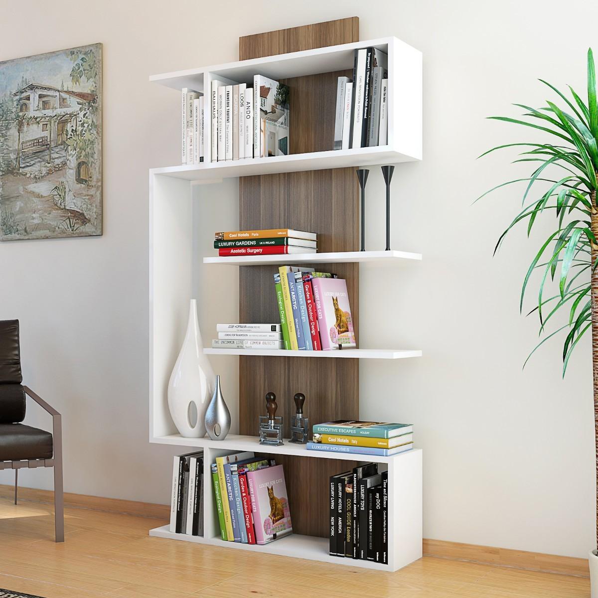 Beryl libreria da soggiorno moderna Bianco Noce 90 x 170 cm