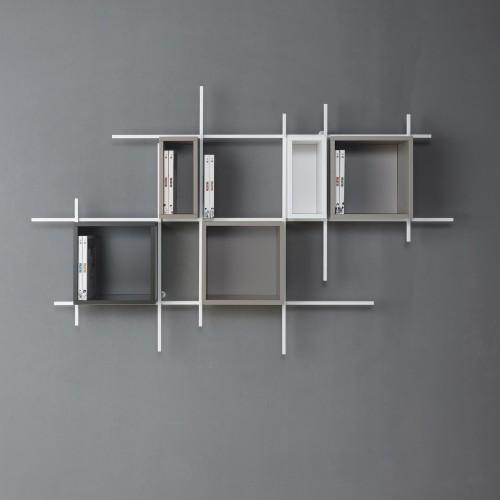 La libreria da muro albatros di tonin casa è una libreria sospesa con 4 ripiani in metallo verniciato e la struttura in legno adeguatamente fissata a parete. Libreria Da Parete Sospesa In Metallo Libra Comp 35